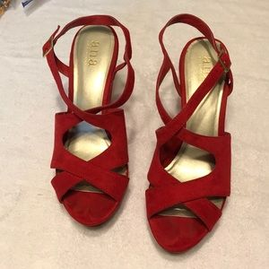 Red faux suede wedges